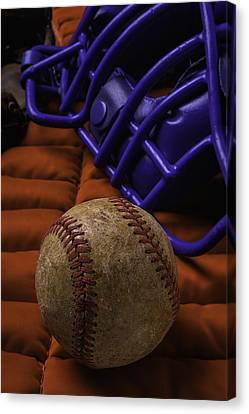 Baseball And Catchers Mask Canvas Print by Garry Gay