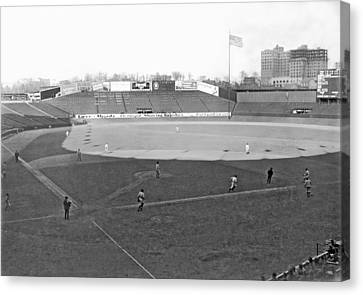 Baseball At Yankee Stadium Canvas Print by Underwood Archives