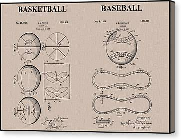 Baseball Basketball Patent Neutral Canvas Print by Dan Sproul