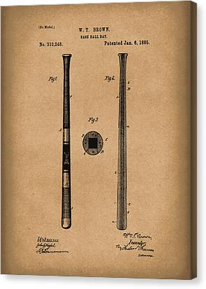 Baseball Bat 1885 Patent Art Brown Canvas Print