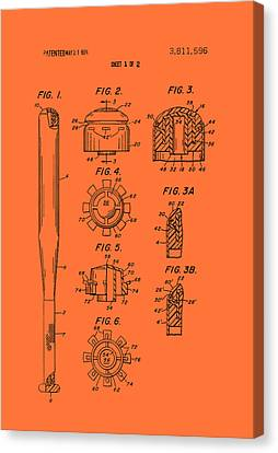 Baseball Bat Construction Patent 1974 Canvas Print by Mountain Dreams