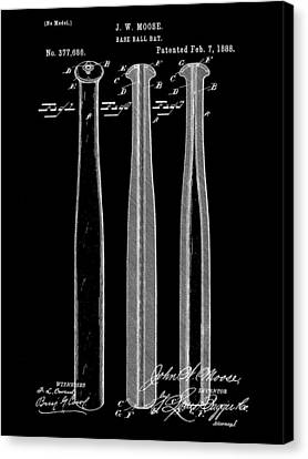 Baseball Bat Patent 1888 - Black Canvas Print by Stephen Younts