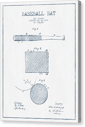 Baseball Bat Patent Drawing From 1904 - Blue Ink Canvas Print by Aged Pixel
