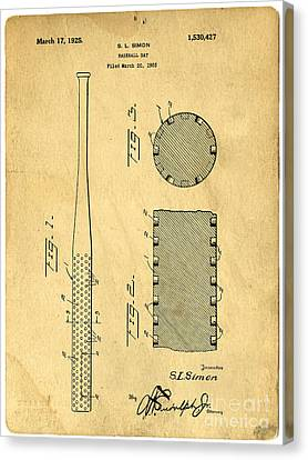 Baseball Bat Patent Canvas Print by Edward Fielding