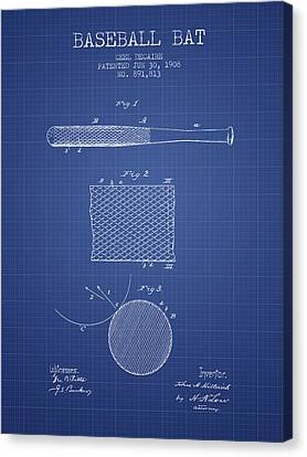 Baseball Bat Patent From 1908 - Blueprint Canvas Print by Aged Pixel