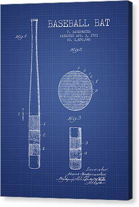 Baseball Bat Patent From 1923 - Blueprint Canvas Print by Aged Pixel