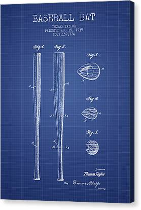 Baseball Bat Patent From 1939 - Blueprint Canvas Print by Aged Pixel