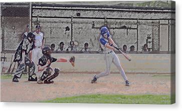 Baseball Batter Contact Digital Art Canvas Print by Thomas Woolworth