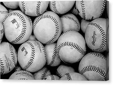 Baseball Black And White Canvas Print by Joe Hamilton
