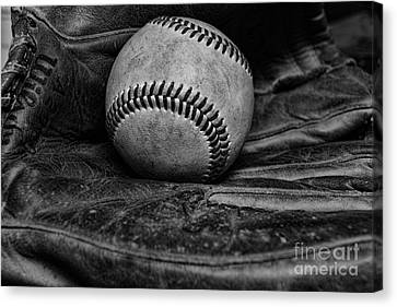 Baseball Broken In Black And White Canvas Print by Paul Ward