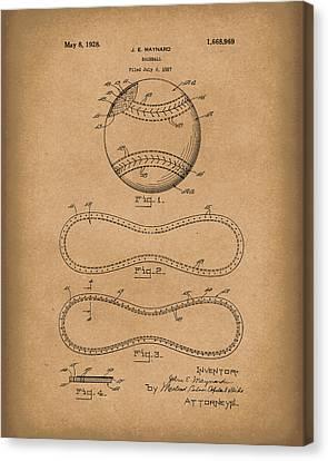 Baseball By Maynard 1928 Patent Art Brown Canvas Print