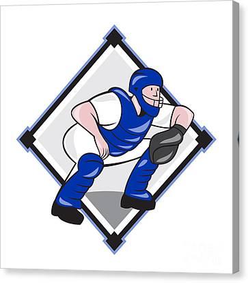 Baseball Catcher Catching Side Diamond Cartoon Canvas Print by Aloysius Patrimonio