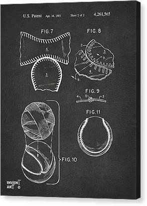 Baseball Construction Patent 2 - Gray Canvas Print by Nikki Marie Smith