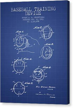 Baseball Cover Patent From 1963- Blueprint Canvas Print by Aged Pixel