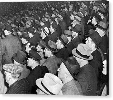 Yankee Stadium Canvas Print - Baseball Fans At Yankee Stadium For The Third Game Of The World by Underwood Archives