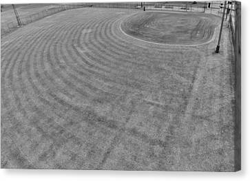 Centerfield Canvas Print - Baseball Field In Black And White by Dan Sproul