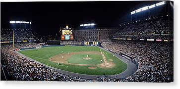 Baseball Game Camden Yards Baltimore Md Canvas Print by Panoramic Images