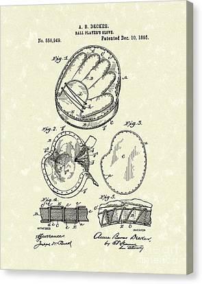 Baseball Glove 1895 Patent Art Canvas Print