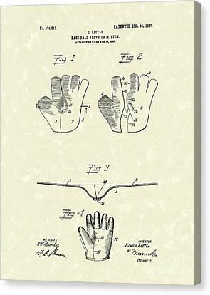 Baseball Glove 1907 Patent Art Canvas Print