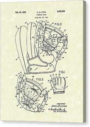 Baseball Glove 1953 Patent Art Canvas Print