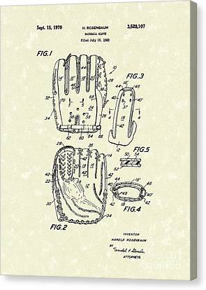 Baseball Glove 1970 Patent Art Canvas Print by Prior Art Design