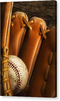 Baseball Glove And Baseball Canvas Print by Chris Knorr