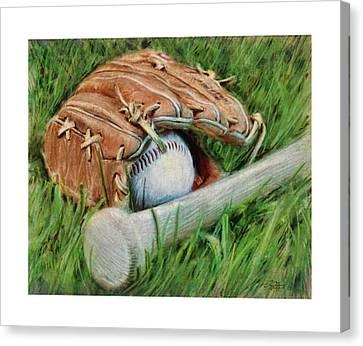 Slugger Canvas Print - Baseball Glove Bat And Ball by Craig Tinder