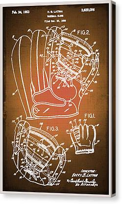 Technical Canvas Print - Baseball Glove Patent Blueprint Drawing Sepia by Tony Rubino
