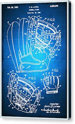 Technical Canvas Print - Baseball Glove Patent Blueprint Drawing by Tony Rubino