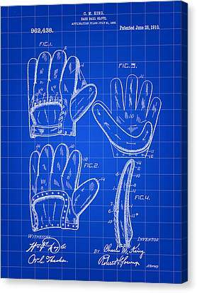 Baseball Glove Patent 1909 - Blue Canvas Print by Stephen Younts