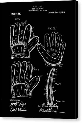 Baseball Glove Patent 1909 - Black Canvas Print by Stephen Younts