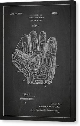 Baseball Gloves Canvas Print - Baseball Glove Patent Drawing From 1923 by Aged Pixel