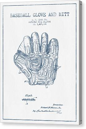 Baseball Gloves Canvas Print - Baseball Glove Patent Drawing From 1924 - Blue Ink by Aged Pixel