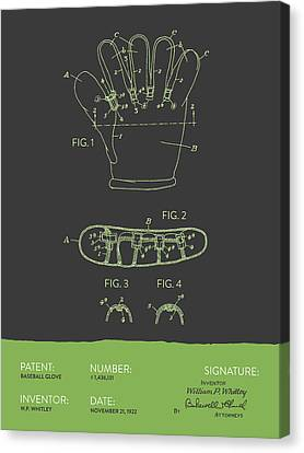 Baseball Glove Patent From 1922 - Gray Green Canvas Print by Aged Pixel