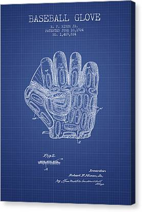 Baseball Glove Patent From 1924 - Blueprint Canvas Print by Aged Pixel