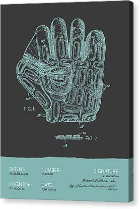 Baseball Glove Patent From 1924 - Gray Blue Canvas Print by Aged Pixel