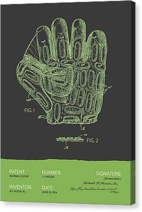 Baseball Glove Patent From 1924 - Gray Green Canvas Print by Aged Pixel