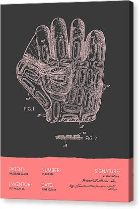 Baseball Glove Patent From 1924 - Gray Salmon Canvas Print by Aged Pixel
