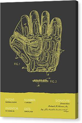 Baseball Glove Patent From 1924 - Gray Yellow Canvas Print by Aged Pixel