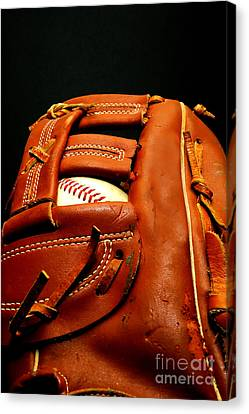 Baseball Glove With Ball Canvas Print by Danny Hooks