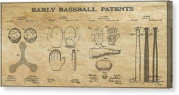 Baseball History 3 Patent Art Canvas Print by Daniel Hagerman