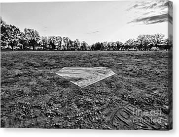 Baseball - Home Plate - Black And White Canvas Print by Paul Ward