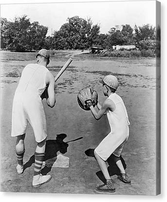 Baseball Glove Canvas Print - Baseball In Union Suits by Underwood Archives