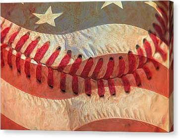 Baseball Is Sewn Into The Fabric Canvas Print