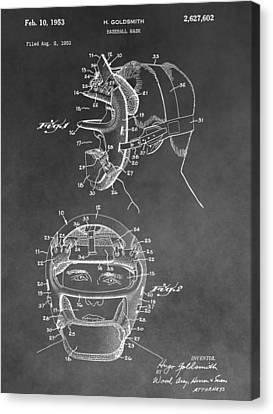Baseball Mask Patent Black And White Canvas Print