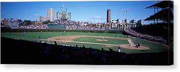 Baseball Match In Progress, Wrigley Canvas Print