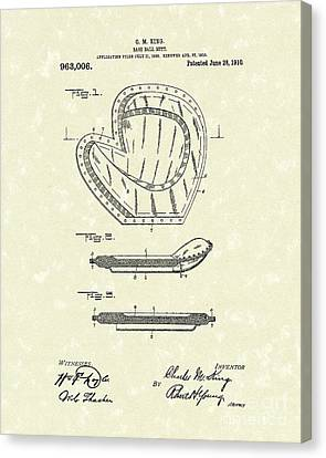 Baseball Mitt 1910 Patent Art Canvas Print by Prior Art Design