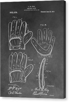Baseball Glove Canvas Print - Baseball Mitt Patent by Dan Sproul