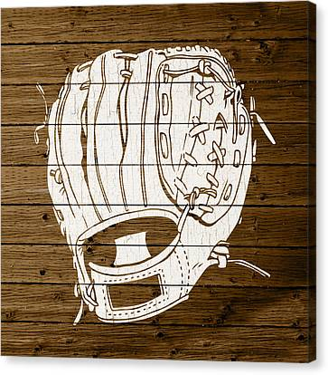 Baseball Mitt Vintage Outline White Distressed Paint On Reclaimed Wood Planks Canvas Print by Design Turnpike