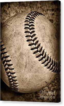 Baseball Canvas Print - Baseball Old And Worn by Paul Ward